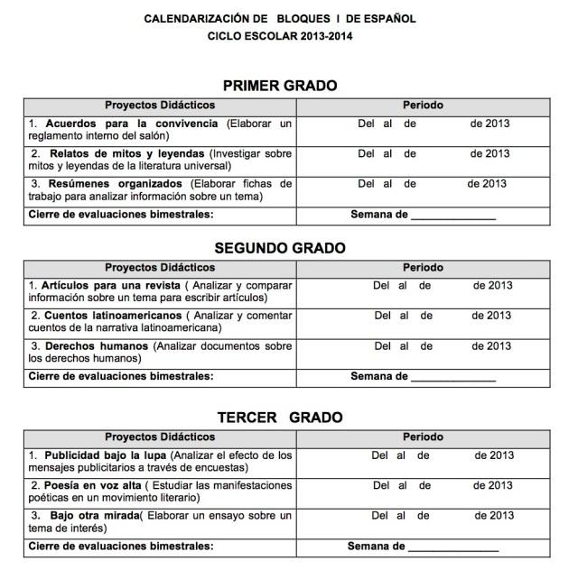 1-Bloque -2013CALENDARIZACIÓN DE   BLOQUES  I  DE ESPAÑOL
