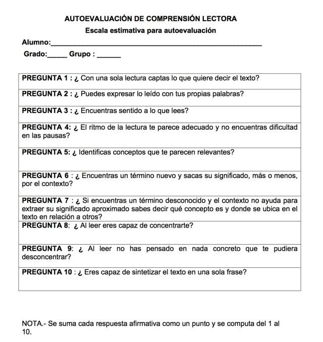 AUTOEVALUACIÓN DE COMPRENSIÓN LECTORA