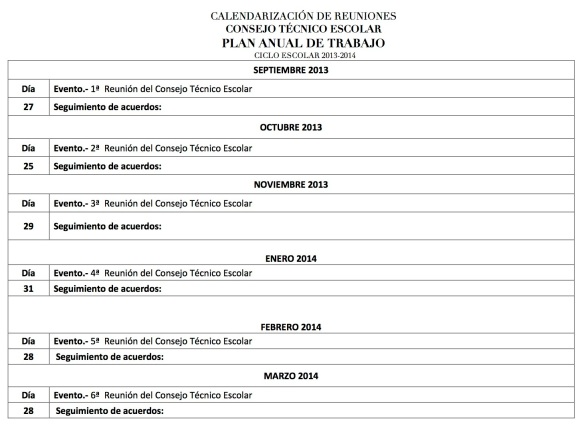 CALENDARIZACIÓN DE REUNIONES