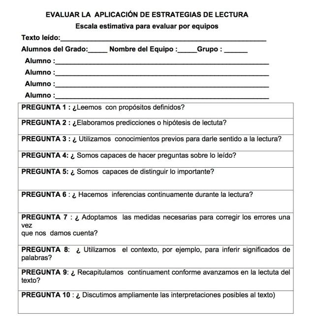 EVALUAR LA  APLICACIÓN DE ESTRATEGIAS DE LECTURA