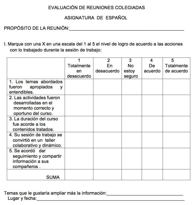 RÚBRICA PARA LA EVALUACIÓN DE REUNIONES COLEGIADAS DE ZONA