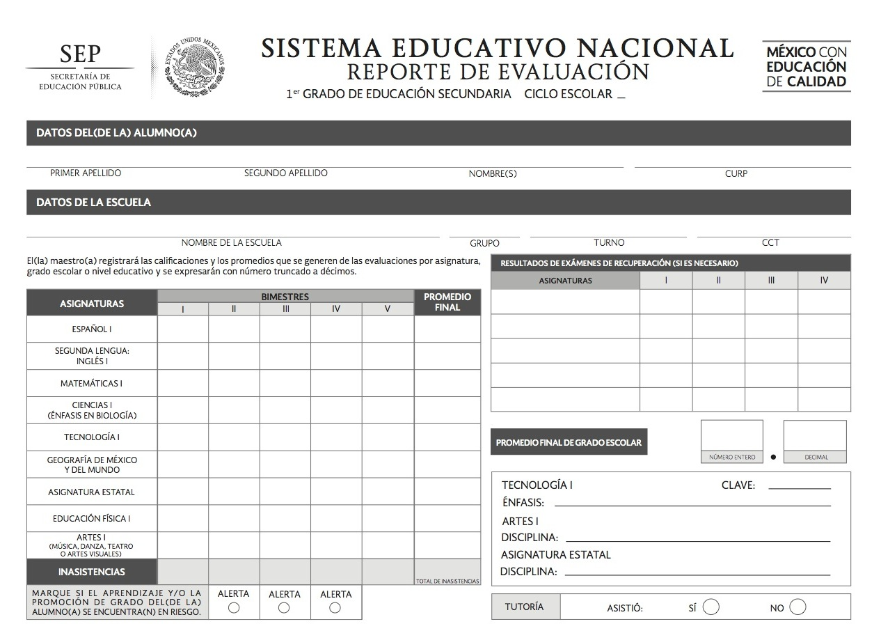 Calificaciones De Secundaria