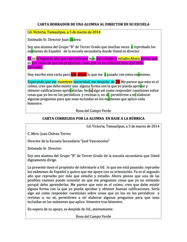 CARTA DE UNA ALUMNA AL DIRECTOR DE SU ESCUELA
