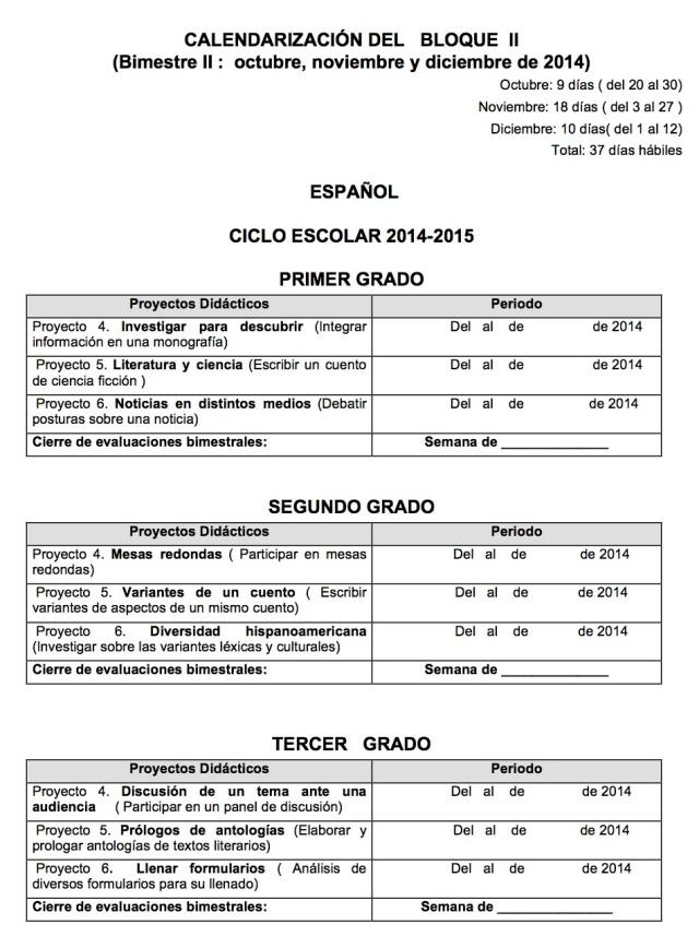 CALENDARIZACIÓN DE   BLOQUES  I  DE ESPAÑOL