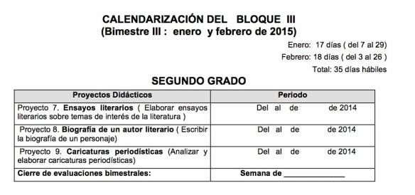 2CALENDARIZACIÓN DEL   BLOQUE  III
