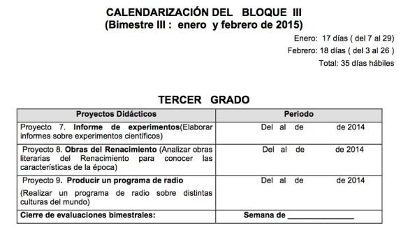 xCALENDARIZACIÓN DEL   BLOQUE  III
