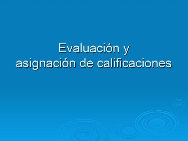 evaluacion y asignacion
