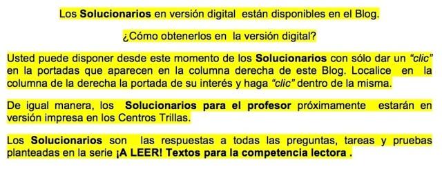 Los Solucionarios en versión digital están disponibles en el Blog